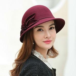 Image 3 - 2019 Winter Lady Chic Flower Fedora Hats Women Party Formal 100% Australia Wool Felt Hat
