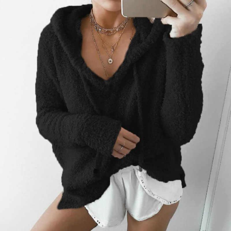 가을 탑 여성 캐주얼 모헤어 후드 풀오버 V 넥 양털 스웨터 패션 달콤한 느슨한 따뜻한 겨울 모헤어 탑스 풀 오버
