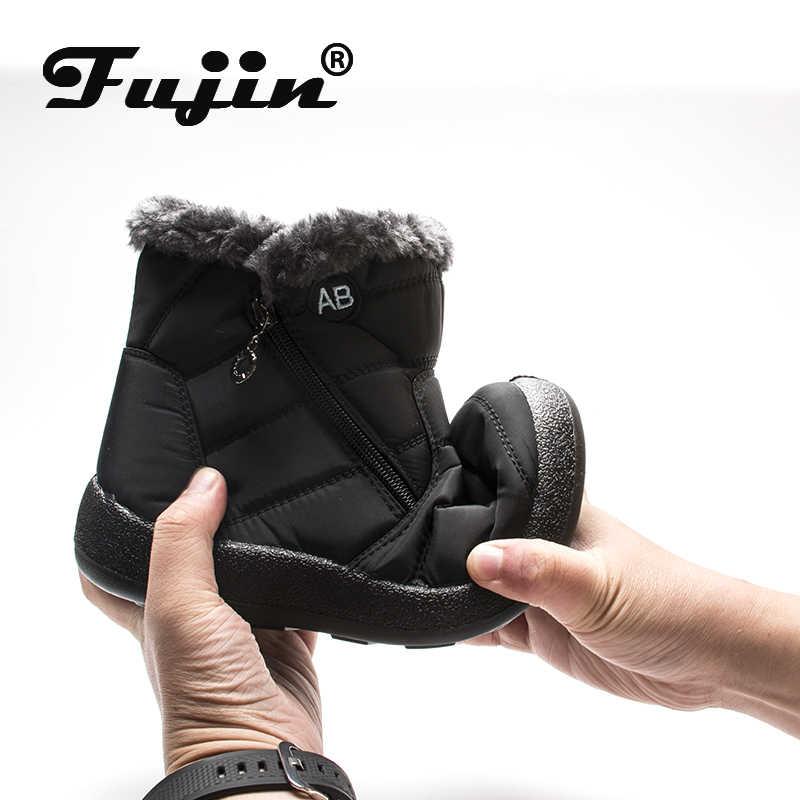 Fujin kışlık botlar kadın su geçirmez kadife pamuk sıcak kadın Zip büyük boy rahat bayan botları kar botları kış