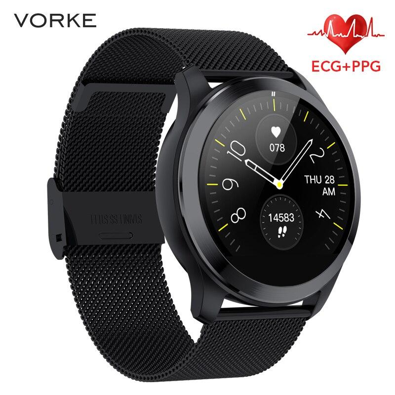 Vorke VQ7 ECG+PPG Smart Watch IP68 Waterproof Men Smart Watch Heart Rate Monitor Fitness Tracker Multi-Sport Smart Watch PK N58