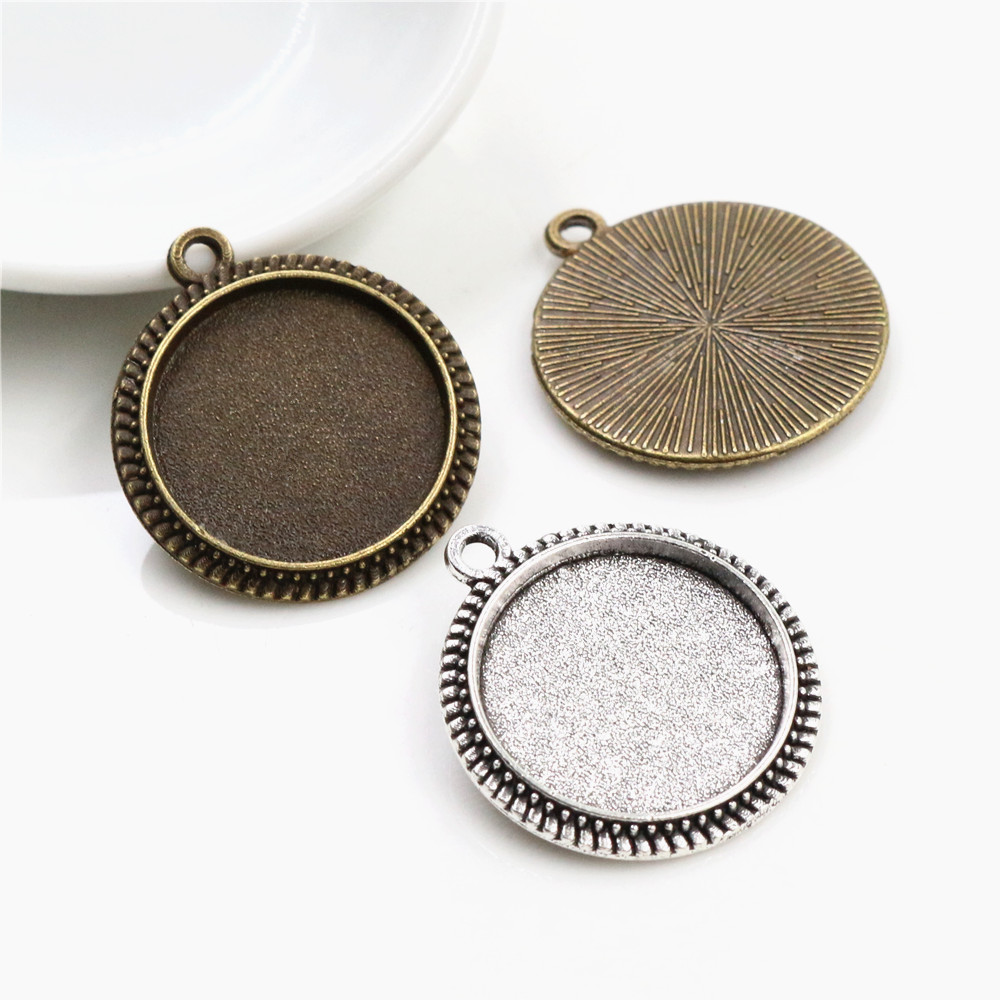 20pcs 16mm Inner Size Antique Bronze And Silver Plated Simple Style Cabochon Base Cameo Setting Charms Pendant