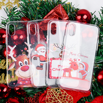 Cute santa claus painted shell For iPhone 8 6s Plus 6 7 For iPhone 6 7 Plus X XR XS Max 8 6s shockproof Soft Silicon Cover Case image
