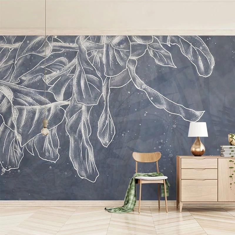 Самоклеящиеся обои на заказ, объемные Абстрактные Художественные фрески с листьями для гостиной, телевизора, дивана, кабинета, спальни, дом...