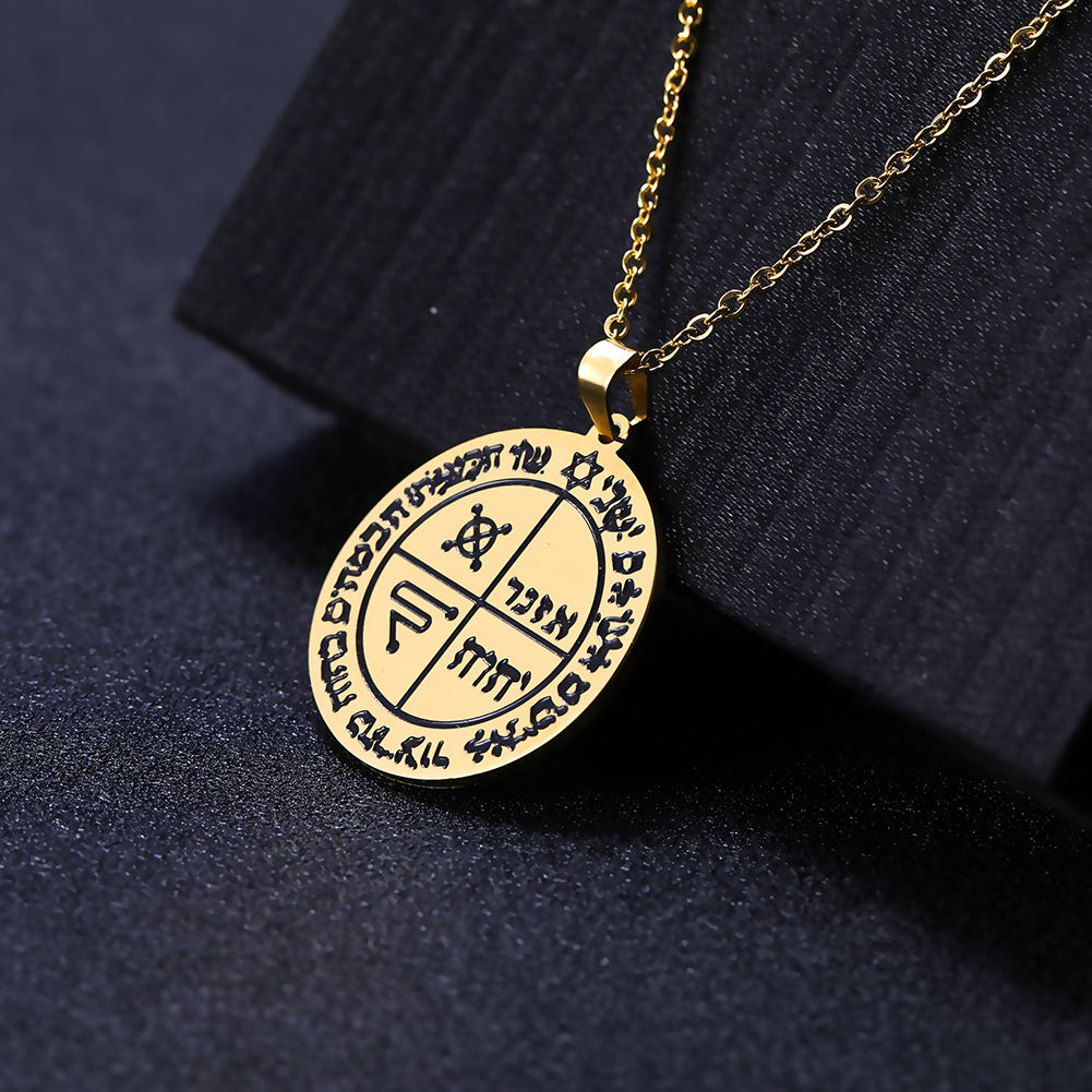 Dawapara Vintage Religious The Key Solomon Pendant Necklace Stainless Steel Vacuum The Holy Tentacles Men Necklaces