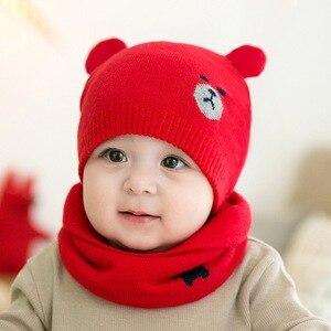 Красный Детский набор из шапки и шарфа для мальчиков и девочек, Детская шерстяная шапка с медвежонком, осенне-зимний теплый детский комплек...