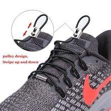 1 Pair Reflective Shoelaces Round No Tie Shoe laces Elastic Metal Buckle Lock Shoelace Kids Adult Unisex Sneakers Lazy