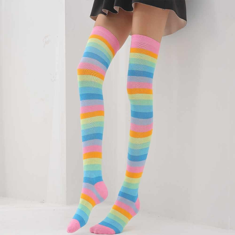 Sonbahar kış çorap kadınlar için gökkuşağı sıcak kablo uzun çizme çorap renkli aşırı diz uyluk yüksek çorap