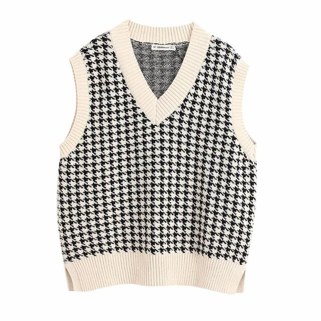 Women's 2020 Fashion Knitted Vest sweater Vintage Houndstooth V Neck Sleeveless Autumn Winter  Korean Style Pullover Loose Tops 4
