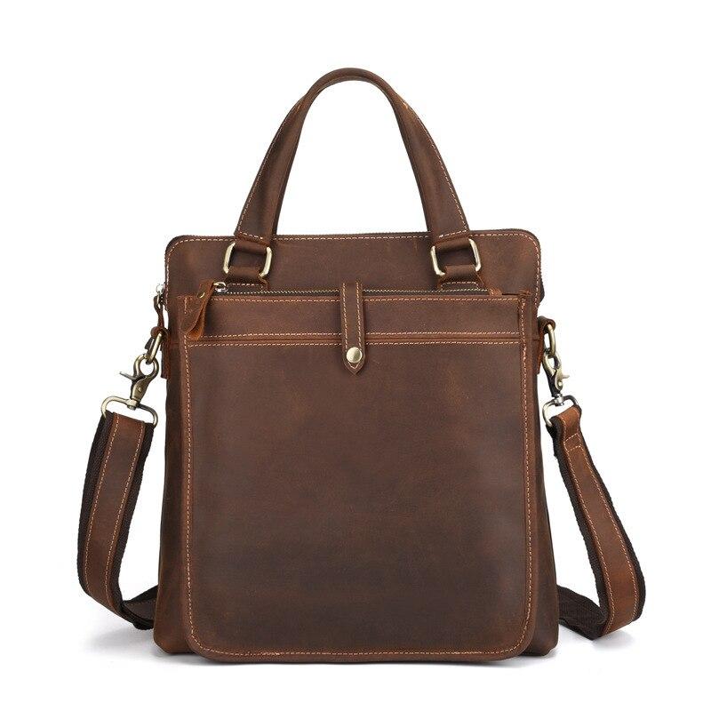 New Men's Handbags Business Genuine Leather Shoulder Bag Leather Handbag With Shoulder Strap Men Male vintage Crossbody Bag - 2