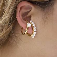 Fashion Pearl Clip On Earrings For Women 2019 New 2 pcs Set Earings Bijoux