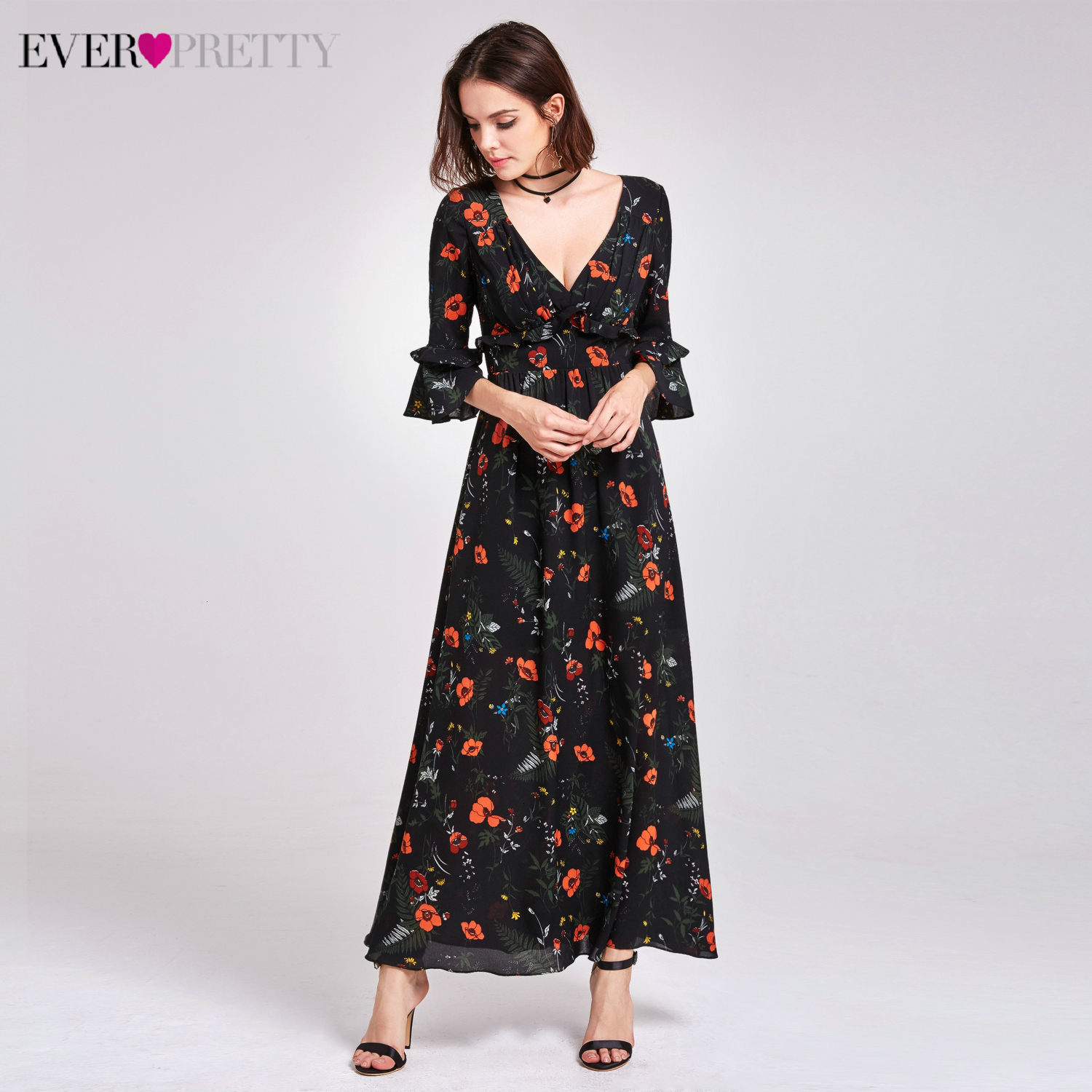 Sexy Floral Printed Prom Dresses Ever Pretty A-Line V-Neck 3/4 Sleeve Black Chiffon Formal Party Gowns Vestidos De Festa 2019