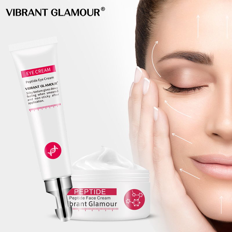 VIBRANT GLAMOUR Face Cream Six Peptide Pure Collagen Eye Cream Anti-wrinkle Firming Anti Aging Anti Acne Whitening Care Skin Set