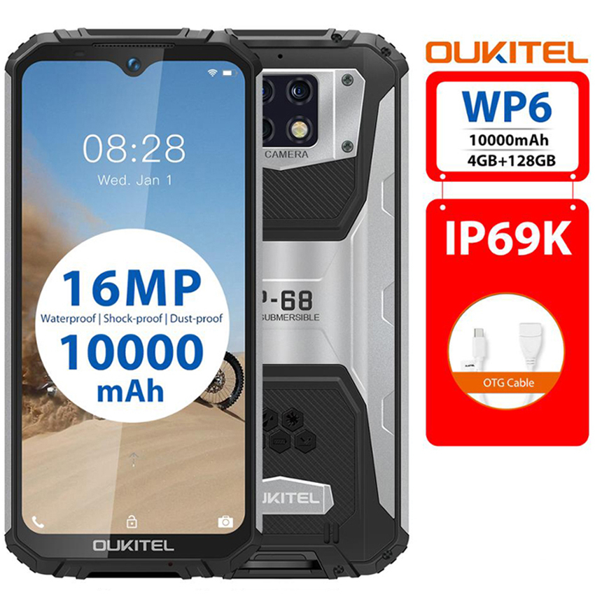 OUKITEL WP6 <font><b>10000mAh</b></font> Ip68 Waterproof shockproof Mobile Phone Octa Core 16MP Triple Camera 4GB + 128GB 4G Rugged <font><b>Smartphone</b></font> image