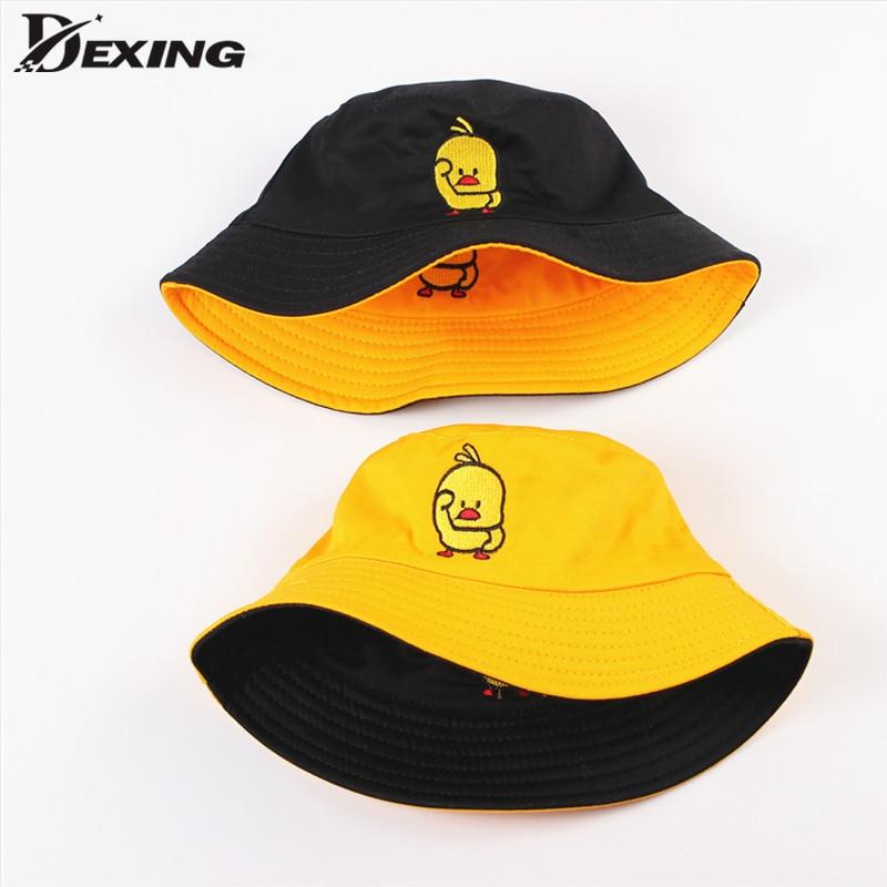 unisex casual Sun hat letter Bucket Hat men women duck Bob Hip Hop Caps Summer Panama sad boys fold two sided beach  hat