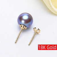 18K Gold earrings gold jewelry,Antiallergic For Women Fashion Retro hollowing out earrings for pearl earrings Accessories