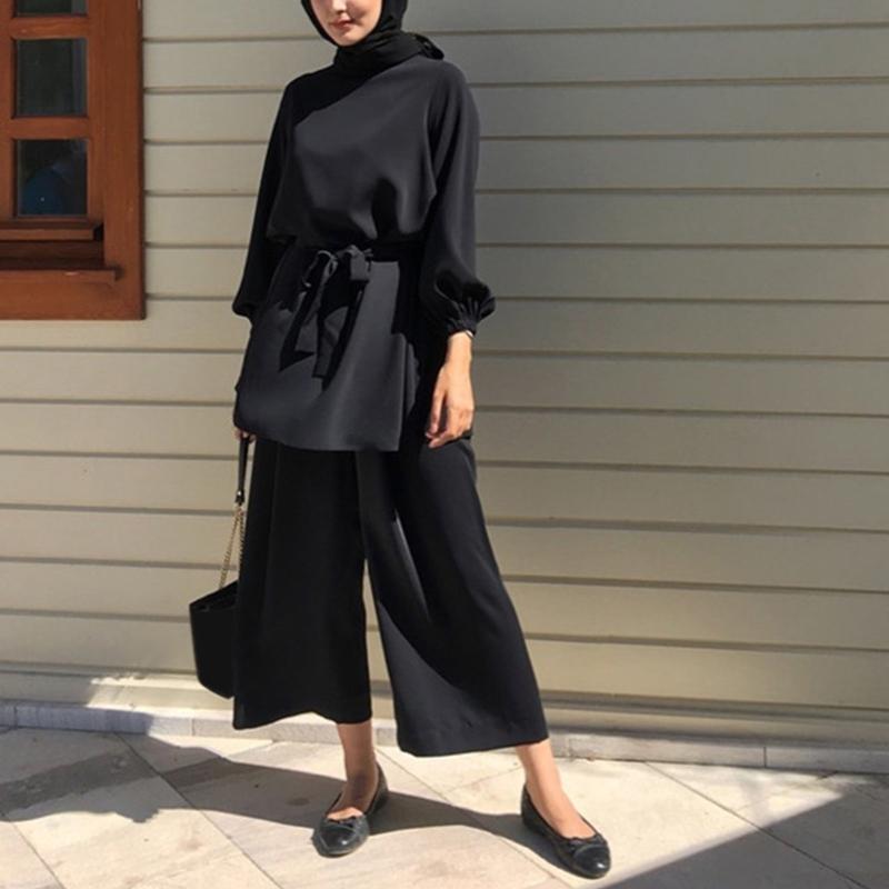 Women Muslim Summer 2Pcs Outfits Set Long Sleeve Belted Tunic Tops Wide Leg Loose Pants Solid Color Dubai Kaftan Hijab