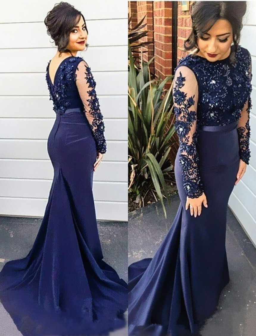 Robe Soiree Beaded Applique Cap Sleeve Long Sleeve Royal Blue Floor Length Mermaid Evening Gown Mother Of The Bride Dresses