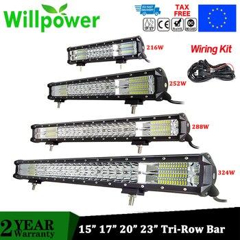 цена на Willpower 15 17 20 23 LED Light Bar Offroad Led Bar Tri-Row Combo Beam Led Work Light Bar for Truck SUV ATV 4x4 4WD 12V 24V