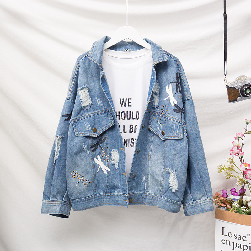 Jvcake Plus Size Women's Loose Denim Jacket Thin Section Fashion Decal Embroidery Pattern Lapel Blue 2020 Summer Denim Coat 5XL