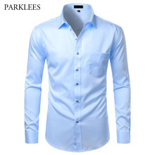 Bamboo Fiber Dress Shirts Men Casual Slim Fit Mens Social Shirts Comfortable Non Iron Solid Long Sleeve Chemise Homme Camisas