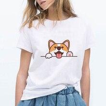 Corgi Tshirt Fashion Top Tees Female cartoon tshirt print Gr
