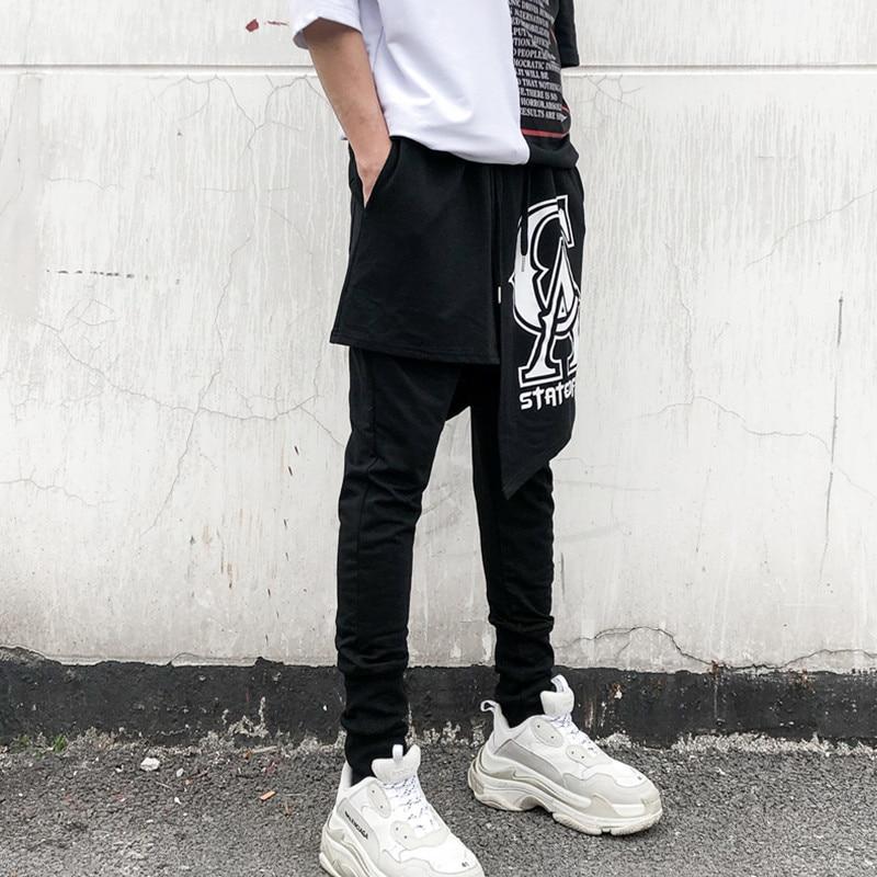Mode décontracté Punk Cross pantalon cheville longueur pantalon hommes haute rue Hip Hop danseur Harem pantalon 2 pièces épissure mâle - 1