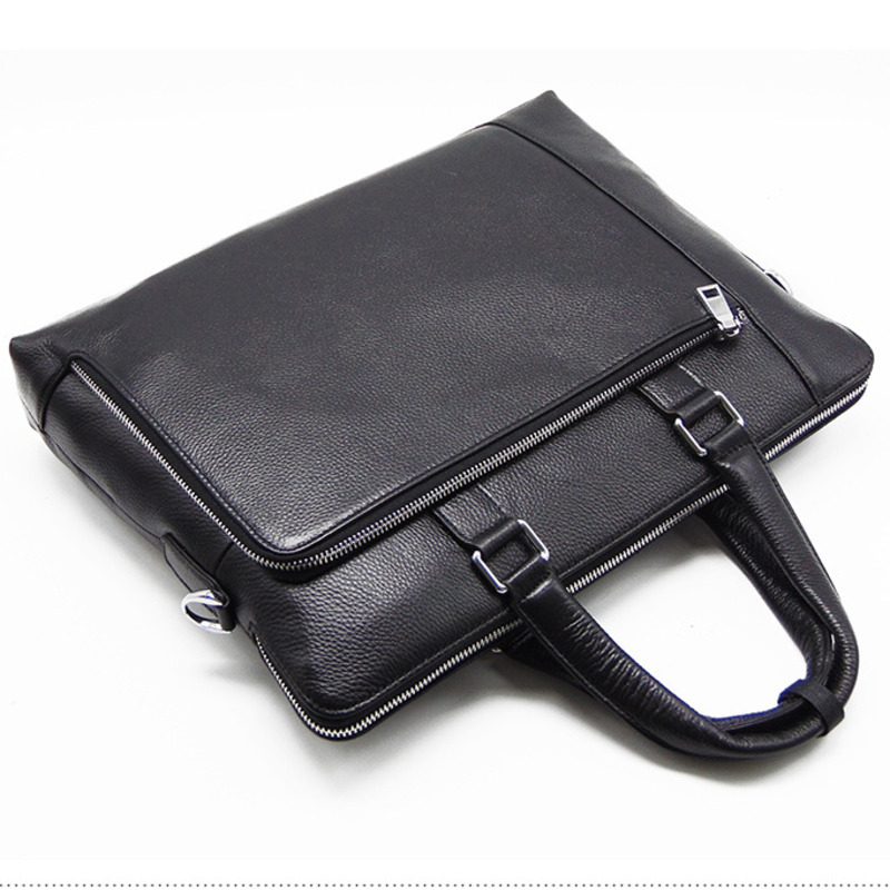 Men's Luxury Cowhide Briefcase Black  Man Crossbody Real Leather Bags For Male Business Shoulder Handbags Bandolera Hombre 2019