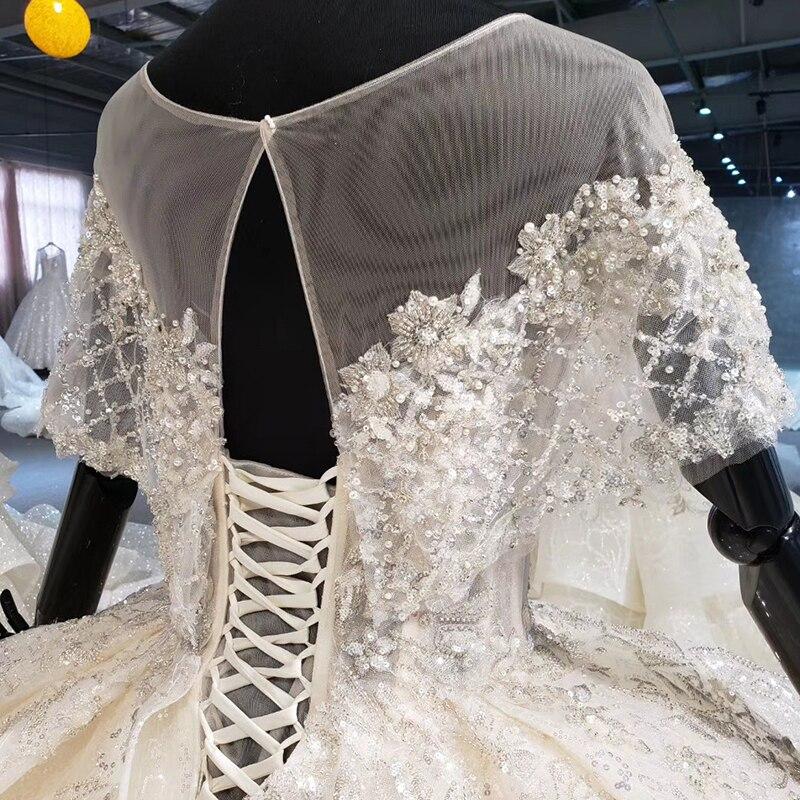 Image 5 - HTL1056 キラキラウェディングドレス 2020 イリュージョン o ネックビーズ小岬レースのウェディングドレスプラスサイズのレースアップバック vestido デ casamentoウェディングドレス   -