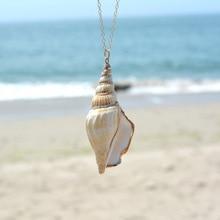New Fashion Natural Shell Long Chain Necklace Pendants Women Gold Beach Bohemian Statement Jewelry