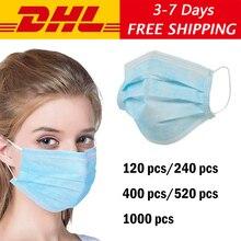 Anti-virus Atemschutz Einweg Gesicht Maske 3 Schicht vlies Staub Masken Verdickt für Haar Salon Verwenden DHL