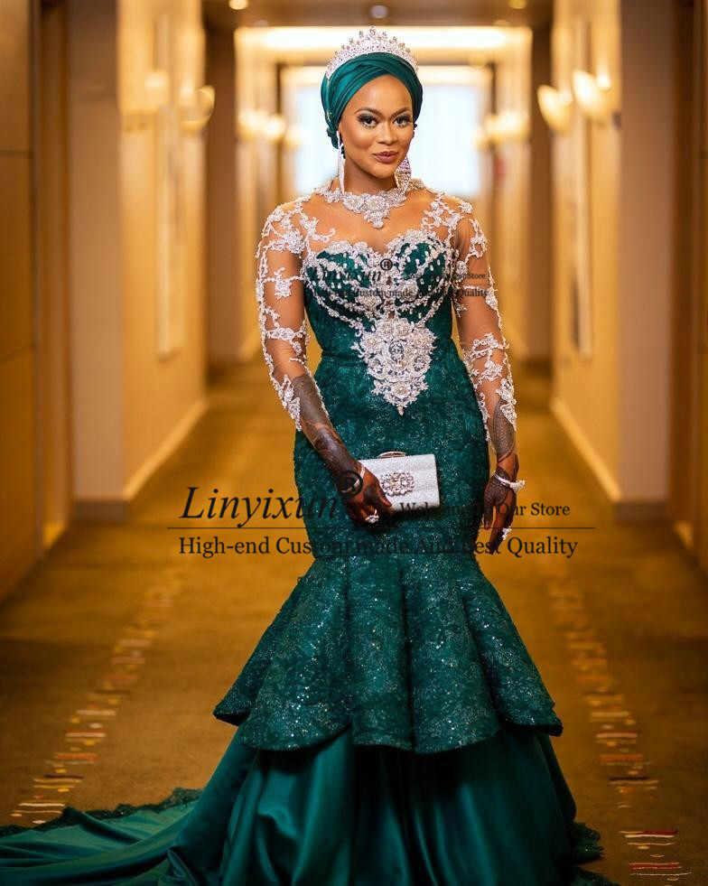 Aso Ebi Русалка размера плюс платья для выпускного вечера зеленые прозрачные вечерние платья с длинными рукавами в африканском стиле Роскошные Кружевные Черные вечерние платья с бисером для девочек