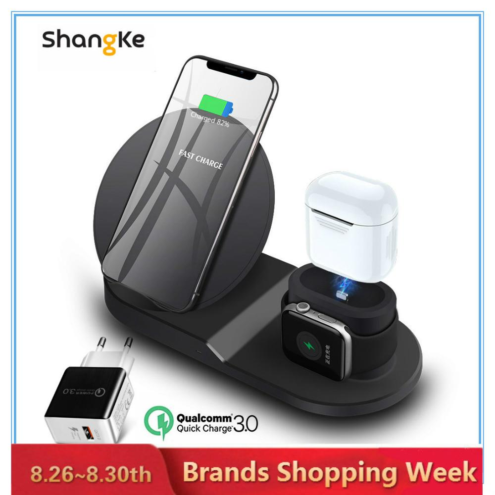 Wireless Charger Stand for iPhone AirPods Apple Watch, Charge Dock Station Charger for Apple Watch Series 4/3/2/1 iPhone X 8 XS tartan