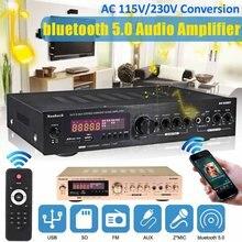 Amplificador de Audio EQ para casa y coche, dispositivo de Audio estéreo con bluetooth 2000 de 5,0 W, 2CH AUX, USB, FM, SD, pantalla LCD, mando a distancia para Karaoke y cine en casa