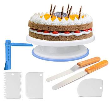 7 sztuk regulowane narzędzie do wygładzania ciasta polerka skrobaki ciasto stojak dekorowanie narzędzia 11 Cal obrotowa taca obrotowa do tortu do dekoracji tanie i dobre opinie ROYZOM CN (pochodzenie) Ekologiczne Zestawy bakeware STAINLESS STEEL
