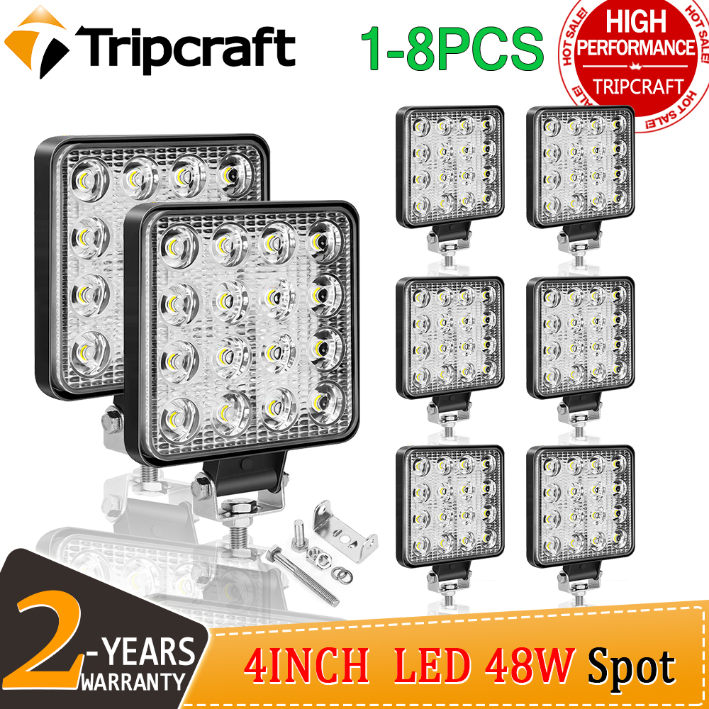 Tripcraft 4 zoll 4in <font><b>27W</b></font> 48W <font><b>LED</b></font> <font><b>Work</b></font> <font><b>Light</b></font> Offroad Auto 4WD Lkw Traktor Boot Anhänger 4x4 SUV ATV 12V 24V Spot <font><b>LED</b></font> Licht Bar image