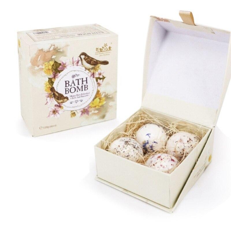 4шт сушеный цветок ванна бомбы подарок набор с эфирными маслами спа пузырь для женщин X7YB