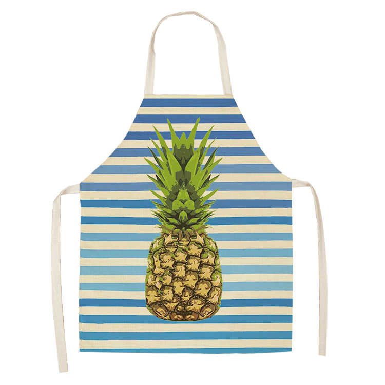 Parent-child kitchen apron, men and women fruit pineapple series sleeveless apron household cleaning tools