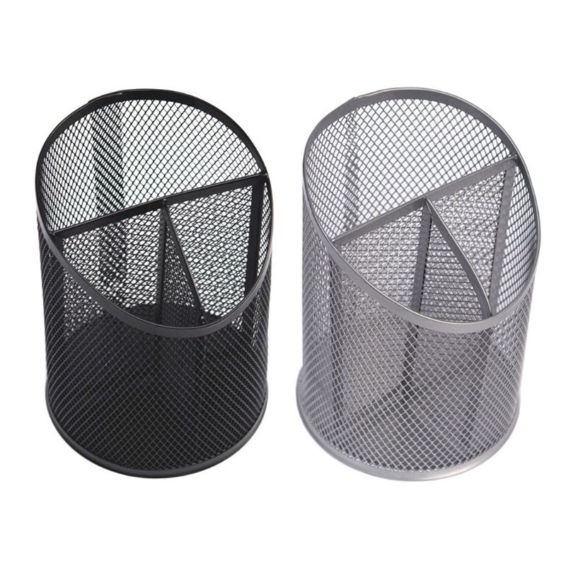 Multifunctional Metal Mesh Desk Pen Pencil Holder Organizer Container Stationery L29K