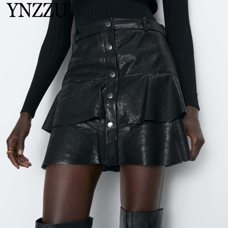 Women Ruffles Faux Leather Skirt Autumn High Waist Buttons Black Female Mini Skirt Fashion Bottoms Spring Black YNZZU YB400