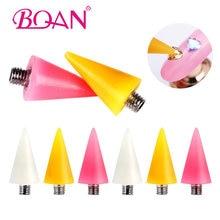 BQAN 4 pçs/set Prego Que Pontilham Caneta Cera Substituível Cabeça Beads Pedrinhas Gemas Selecionador Ferramentas Manicure Auto-adesivo Da Arte Do Prego