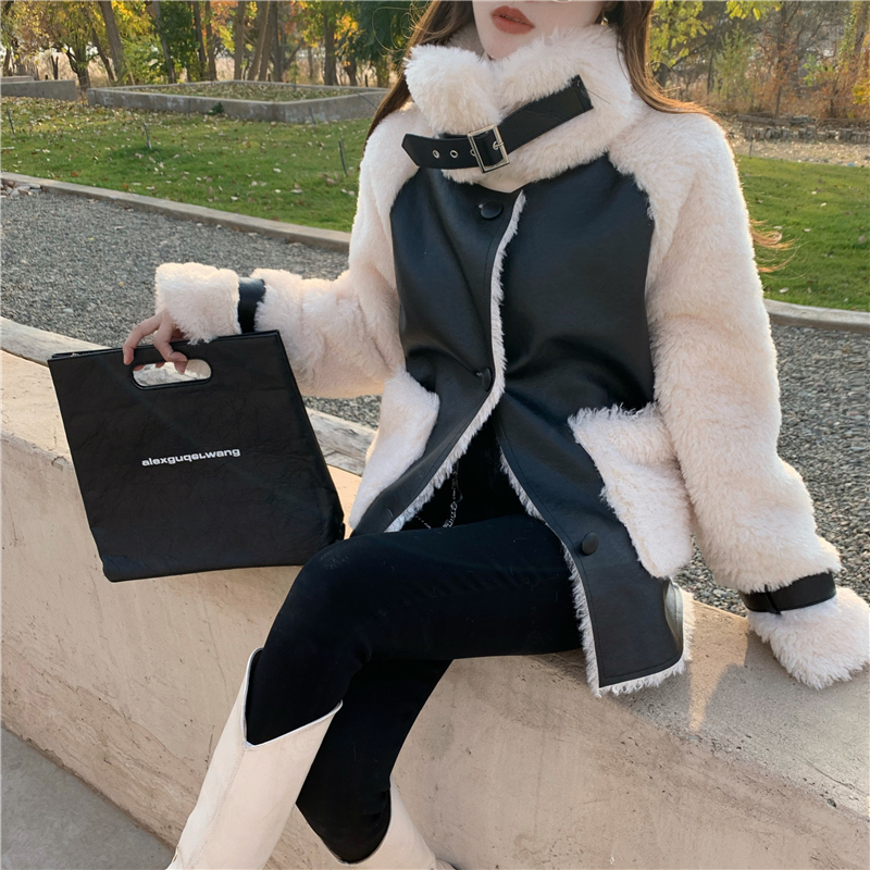 He63d8a9f16c64541b54c83cb8fa5b258d Winter Women High Quality Fur Coat Loose Collar Design Integrated Long Splicing Single-breasted Cotton-padded Pocket Jackets
