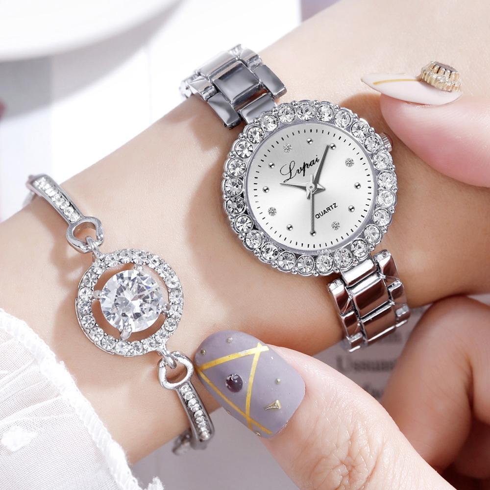 Romantic Diamond Women Watches Bracelet Set Full Crystal Silver Steel Belt Watch Female Gift Bangle Luxury Diamond Mirror Clock