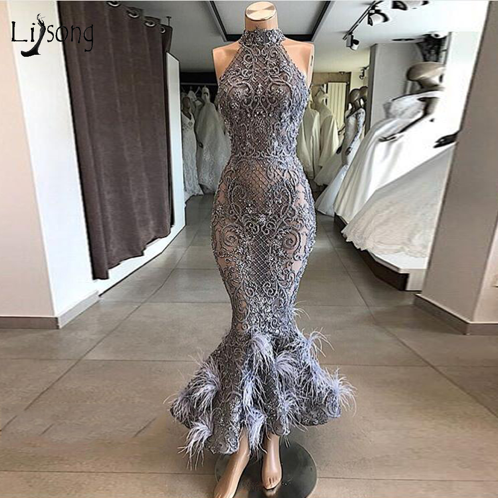 real picture gray lace beaded mermaid prom dresses luxury feather formal  dress sexy prom gowns party dress 2020