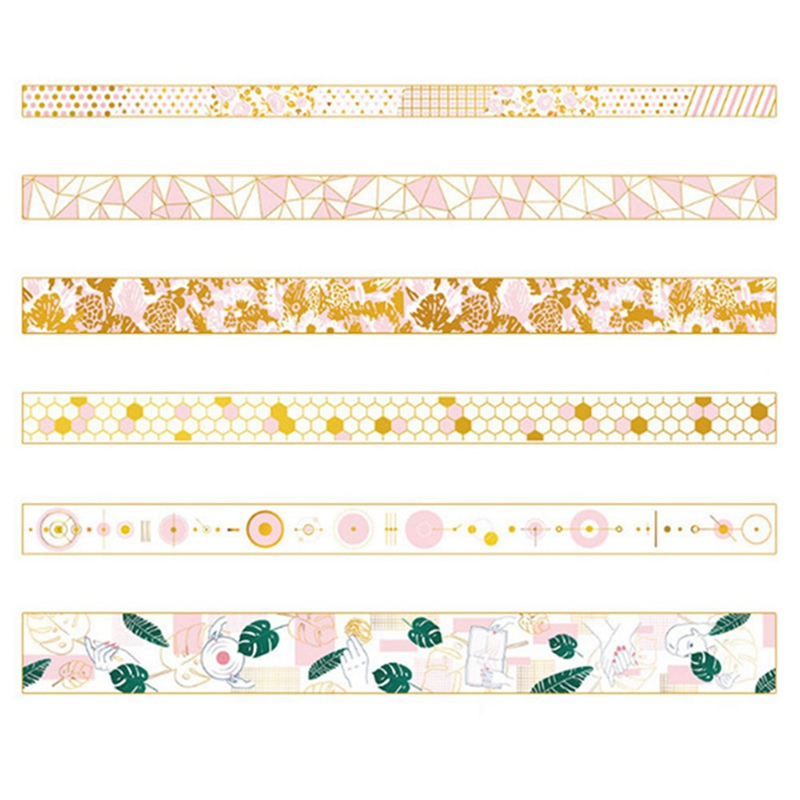 Golden Pink Foil Paper Washi Tape Set Scrapbooking Decorative Tapes Honeycomb For Photo Album Home Decoration
