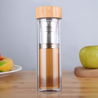 500ML Glass Water Bottle with bamboo lid and Rope Double layer borosilicate glass Drink Bottle Thermal Insulation Tea bottle