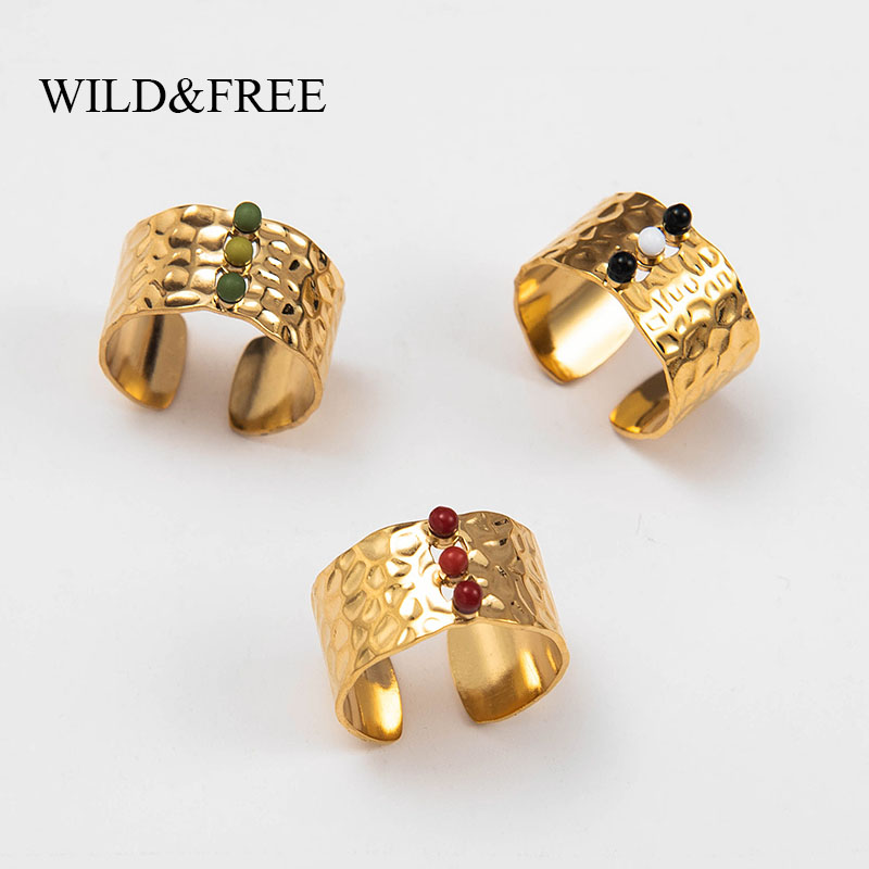 Wild & Free New Gold Wide Opening Finger Rings Jewelry For Women Stainless Steel Handmade Stone Concave Convex Adjustable Ring