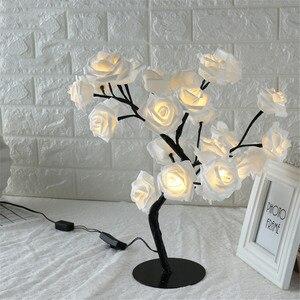 Image 2 - ตารางโคมไฟ 24LED Rose ดอกไม้จำลอง Tree Night Light ของขวัญเด็กบ้านห้องนอนข้างเตียงงานแต่งงานตกแต่งคริสต์มาส