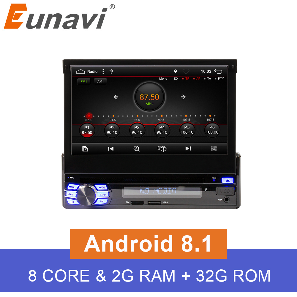 Eunavi 2G RAM Android 8.1 Universal Single 1 DIN 7 Car Radio Stereo Quad Core Head Unit Support Dual Zone Steering Wheel Came image