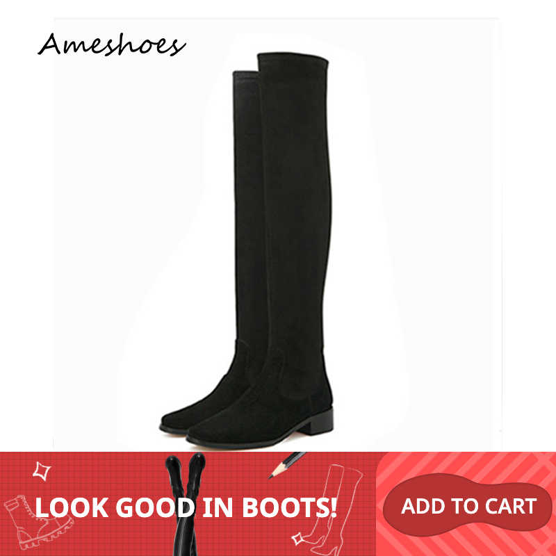Over The Knee Boots 2019 Winter Women Thigh High Boots Handcrafted Basic Round Toe Square Heels Long Booties A162