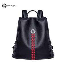 ZOOLER 100% Real Genuine Cow Leather Backpack Black Women Designed Backpacks Top Layer Cowhide School Book Bag Mochila#lt211 sales zooler 2017 new designed woman bag 100